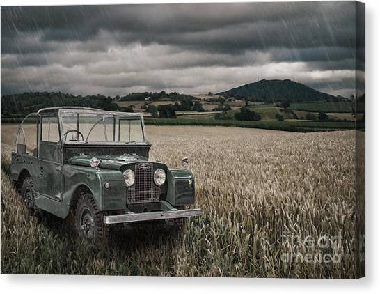 4x4 Canvas Print - Vintage Land Rover In Field by Amanda Elwell