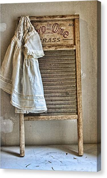 Clothes Washing Canvas Print - Vintage Laundry II by Marcie  Adams