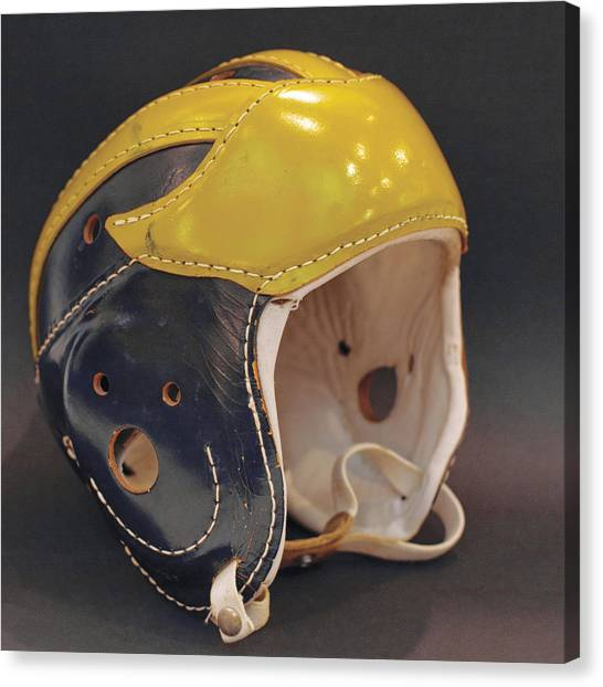 Canvas Print featuring the photograph Vintage Leather Wolverine Helmet by Michigan Helmet
