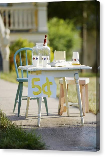 Beverage Canvas Print - Vintage Lemonade Stand 5 Lettering by Gillham Studios