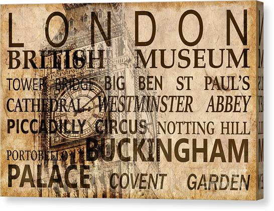 The British Museum Canvas Print - Vintage London Sepia by Delphimages Photo Creations