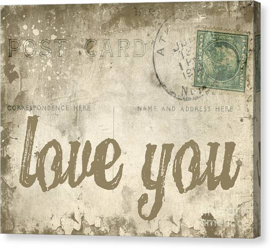 Vintage Love Letters Canvas Print