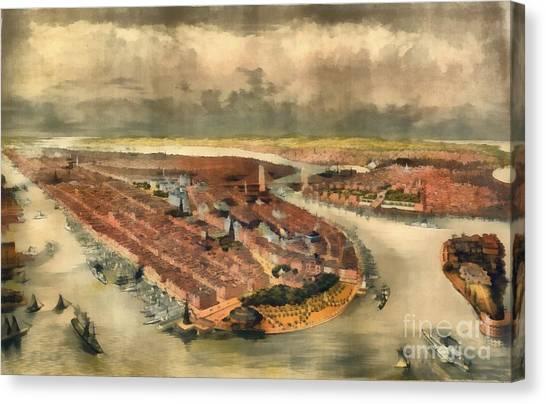 Manhattan Skyline Canvas Print - Vintage Manhattan Island by Edward Fielding