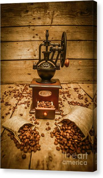 Roast Canvas Print - Vintage Manual Grinder And Coffee Beans by Jorgo Photography - Wall Art Gallery