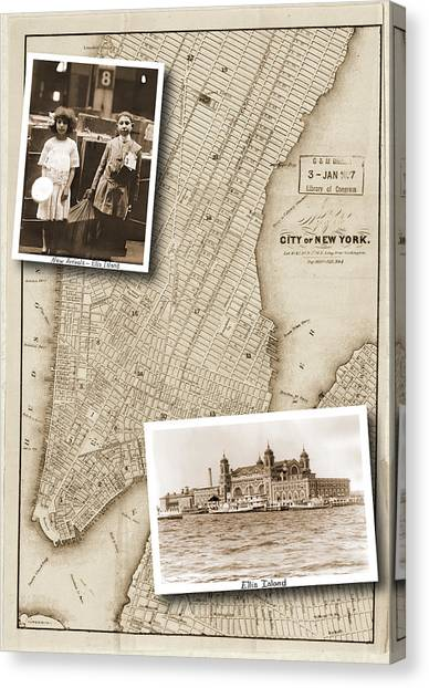 Vintage Map Ellis Island Immigrants Canvas Print