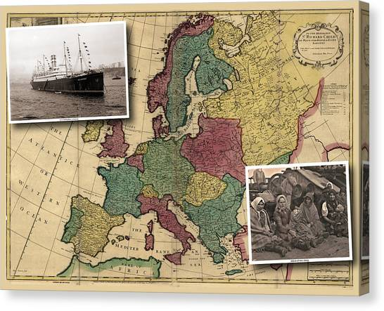 Vintage Map Europe Immigrants Canvas Print