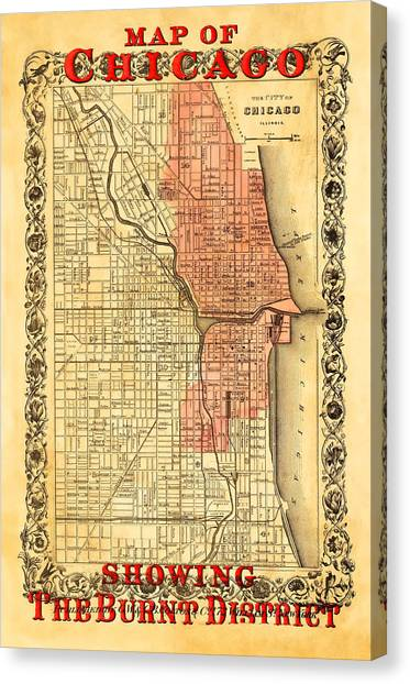Chicago Fire Canvas Print - Vintage Map Of Chicago Fire by Stephen Stookey