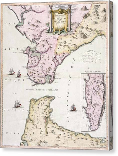 Straits of gibraltar canvas prints page 3 of 3 fine art america straits of gibraltar canvas print vintage map of the strait of gibraltar 1780 by gumiabroncs Gallery