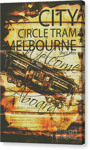 Street Signs Canvas Print - Vintage Melbourne Tram Tin Sign by Jorgo Photography - Wall Art Gallery