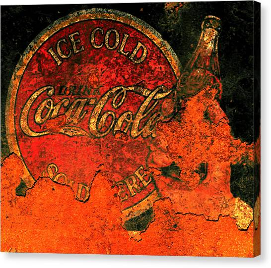 Mountain Dew Canvas Print - Vintage Metal Coca Cola Sign                       by Brian Reaves