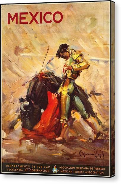 Vintage Mexico Bullfight Travel Poster Canvas Print
