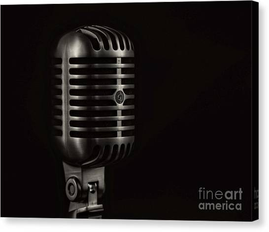Microphones Canvas Print - Vintage Microphone Black And White by Edward Fielding