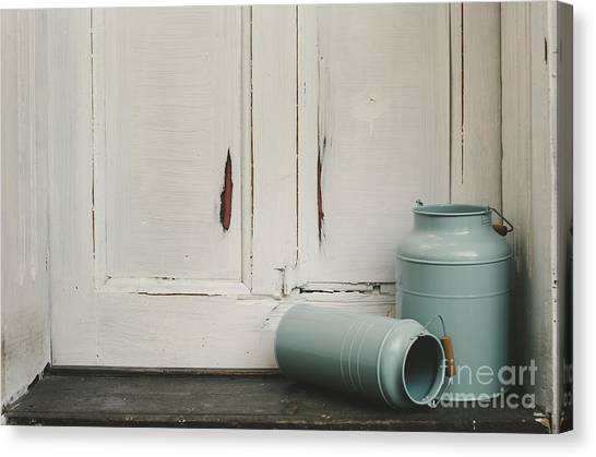 Old Door Canvas Print - Vintage Milk Canisters. by Jelena Jovanovic