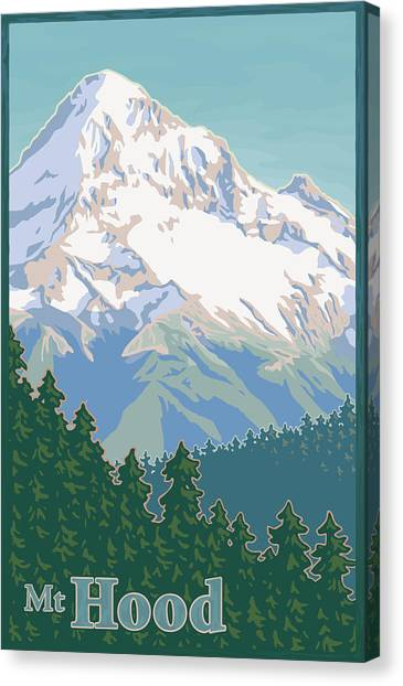 Travel Canvas Print - Vintage Mount Hood Travel Poster by Mitch Frey