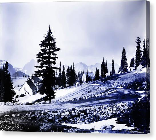 Vintage Mount Rainier Lodge Early 1900 Era... Canvas Print