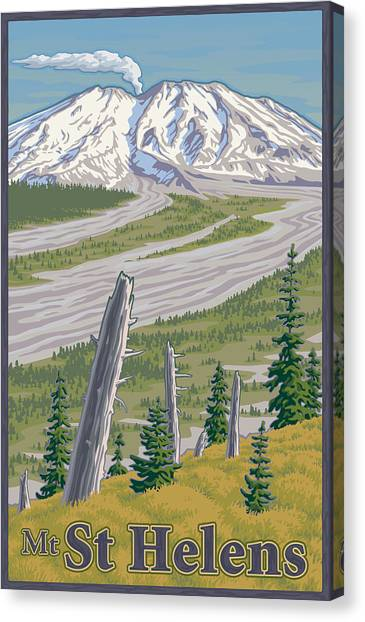Old Canvas Print - Vintage Mount St. Helens Travel Poster by Mitch Frey