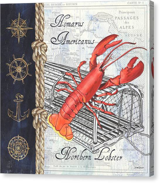 Seafood Canvas Print - Vintage Nautical Lobster by Debbie DeWitt