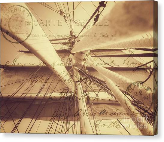 Vintage Nautical Sailing Typography In Sepia Canvas Print