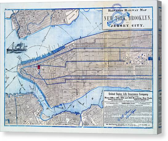 Vintage New York Map Canvas Print