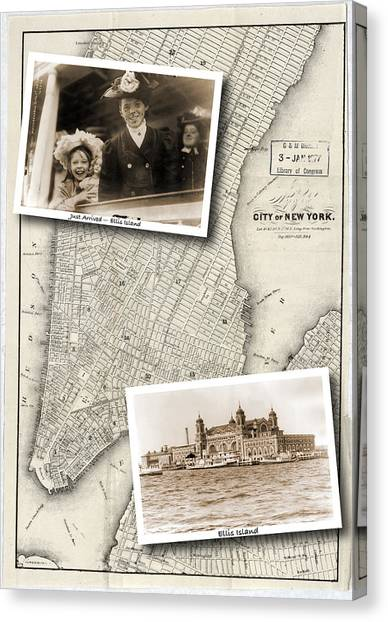 Vintage New York Map With Ellis Island Canvas Print