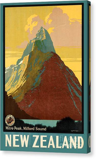 Vintage New Zealand Travel Poster Canvas Print