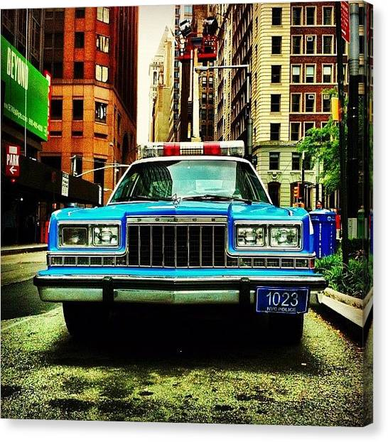Times Square Canvas Print - Vintage Nypd. #car #nypd #nyc by Luke Kingma