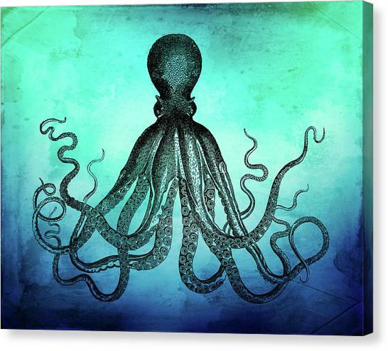 Vintage Octopus On Blue Green Watercolor Canvas Print