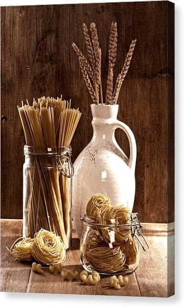 Spaghetti Canvas Print - Vintage Pasta  by Amanda Elwell