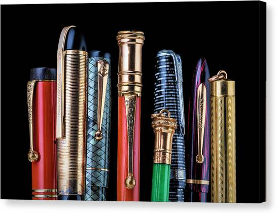 Ballpoint Pens Canvas Print - Vintage Pen Collection by Tom Mc Nemar