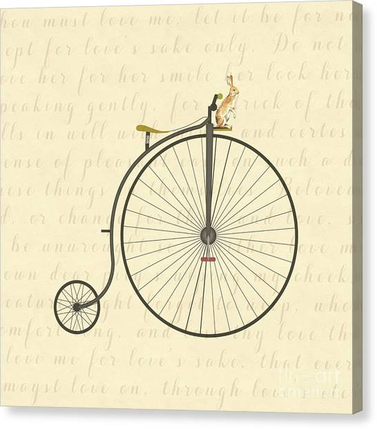 Vintage Penny Farthing Bunny Canvas Print