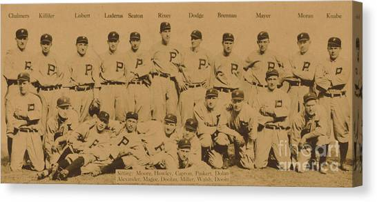 Philadelphia Phillies Canvas Print - Vintage Philadelphia Phillies Baseball Card  by American School