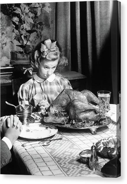 Turkey Dinner Canvas Print - Vintage Photo Depicting Thanksgiving Dinner by American School