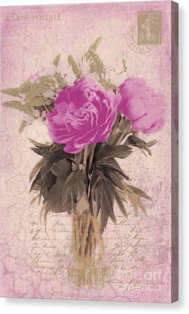 Vintage Pink Peonies Canvas Print