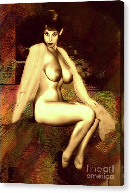 Abstract Nude Canvas Print - Vintage Pinup By Mb by Mary Bassett