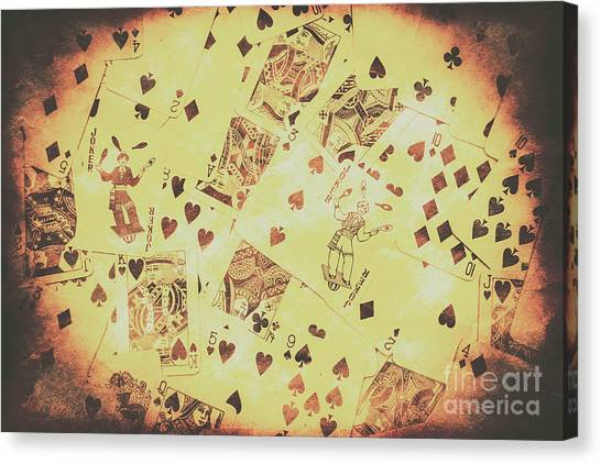 Desks Canvas Print - Vintage Poker Card Background by Jorgo Photography - Wall Art Gallery