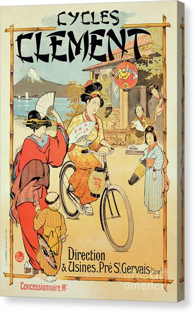 Japanese Umbrella Canvas Print - Vintage Poster Advertising Cycles Clement by French School