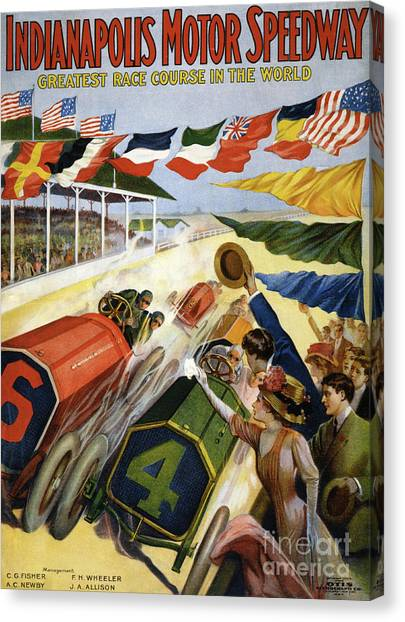 Motoring Canvas Print - Vintage Poster Advertising The Indianapolis Motor Speedway by American School