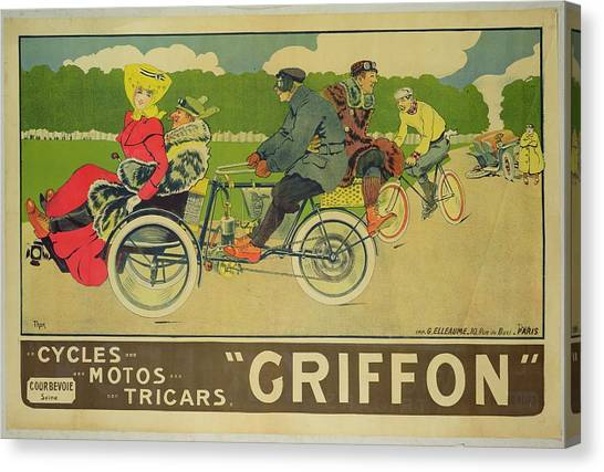 Griffons Canvas Print - Vintage Poster Bicycle Advertisement by Walter Thor