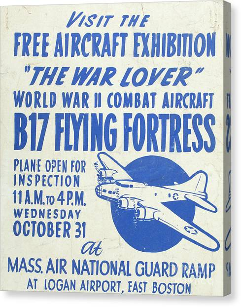 National Guard Canvas Print - Vintage Poster For The War Lover Aircraft Exhibition II by Edward Fielding