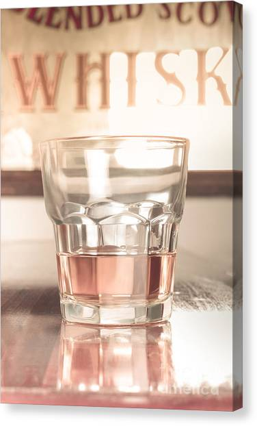 Scotch Canvas Print - Vintage Pub Whisky On Old Wooden Counter by Jorgo Photography - Wall Art Gallery