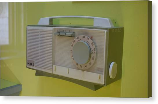 Retro Canvas Print - Vintage Radio With Lime Green Background by Matthew Bamberg