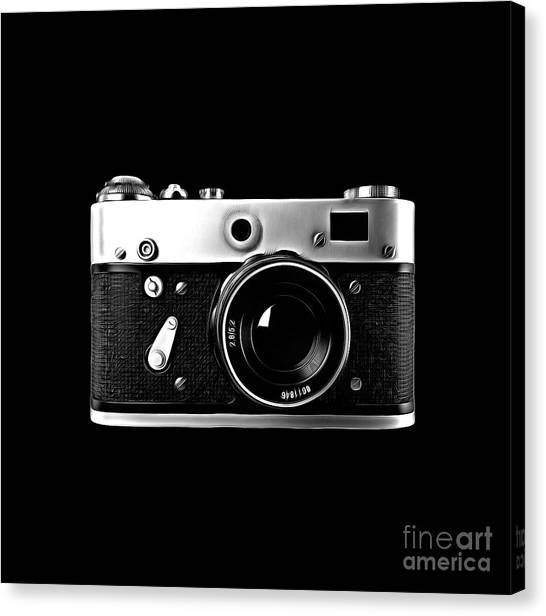 Canvas Print featuring the digital art Vintage Rangefinder Film Camera by Edward Fielding