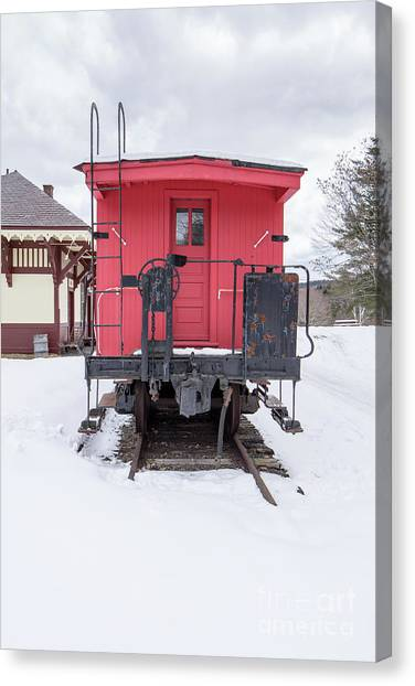 Canvas Print featuring the photograph Vintage Red Caboose In The Snow by Edward Fielding
