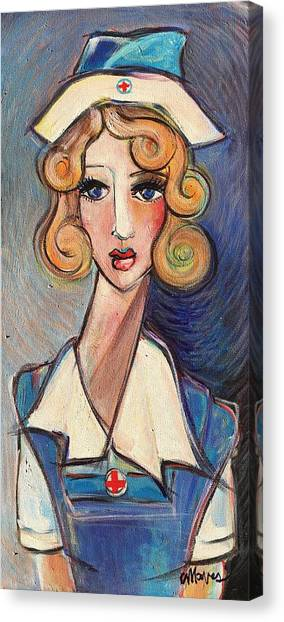 Canvas Print featuring the painting Vintage Red Cross Nurse by Laurie Maves ART