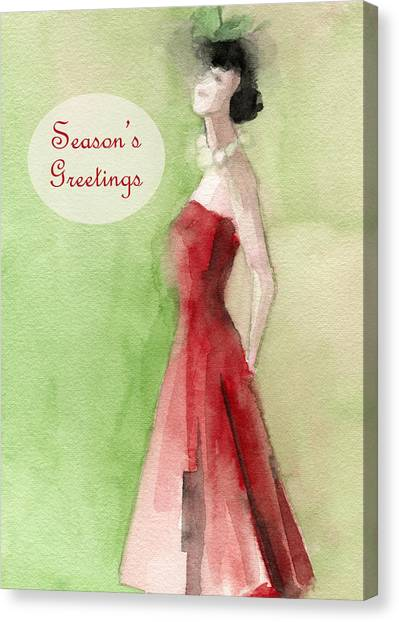 Christmas Art Canvas Print - Vintage Red Dress Fashion Holiday Card by Beverly Brown Prints