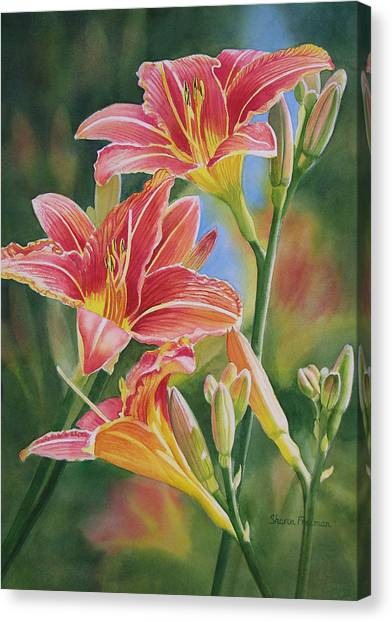 Lily Canvas Print - Vintage Red Orange Lilies by Sharon Freeman