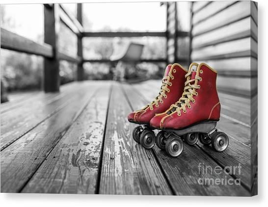 Roller Skating Canvas Print - Vintage Red Roller Skates by Pd