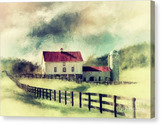 Rolling Hills Canvas Print - Vintage Red Roof Barn by Lois Bryan