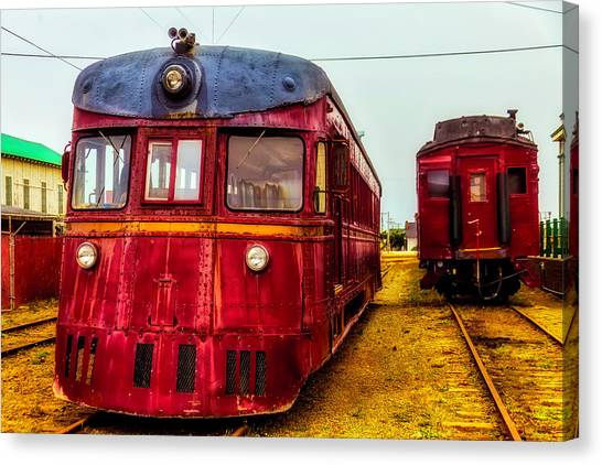 Stock Cars Canvas Print - Vintage Red Skunk Train by Garry Gay