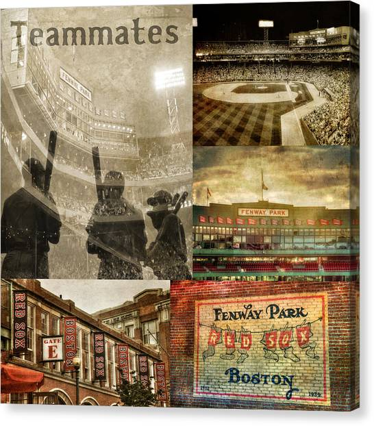 Fenway Canvas Print - Vintage Red Sox Fenway Park Baseball Collage by Joann Vitali